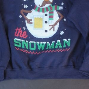 Jerzees Shirts Mens 2xl Beer Drinking Frothy Snowman Ugly Xmas Sw